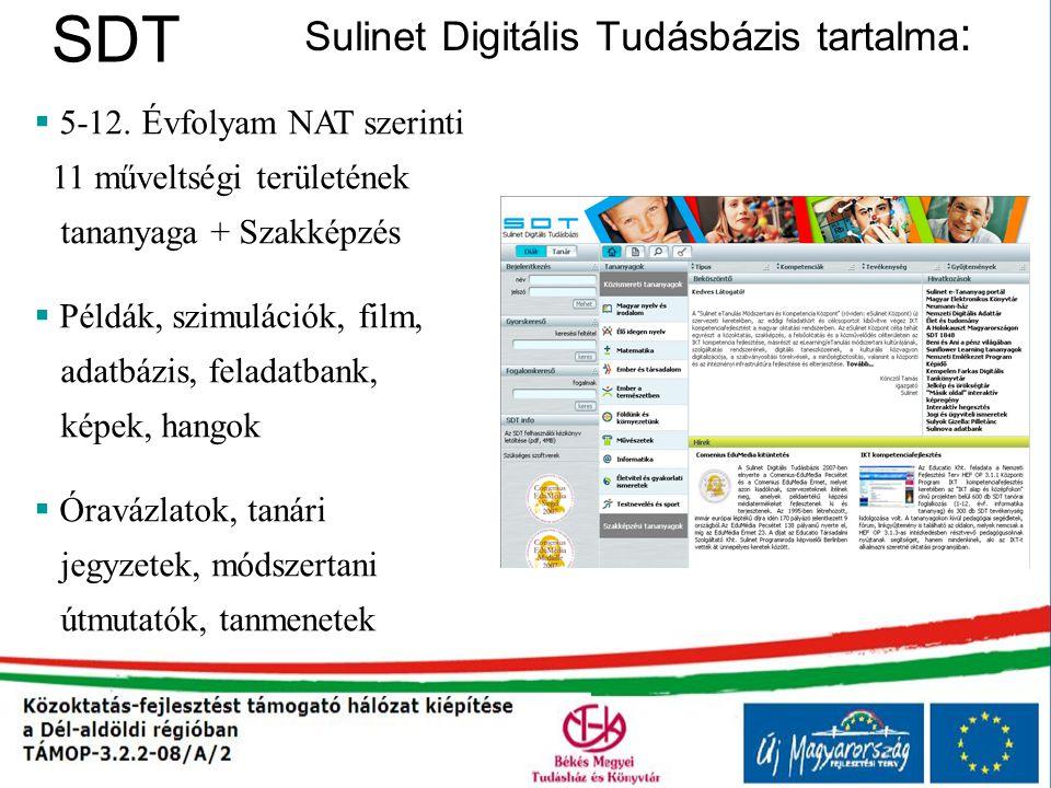 SDT Sulinet Digitális Tudásbázis tartalma :  5-12. Évfolyam NAT szerinti 11 műveltségi területének tananyaga + Szakképzés  Példák, szimulációk, film