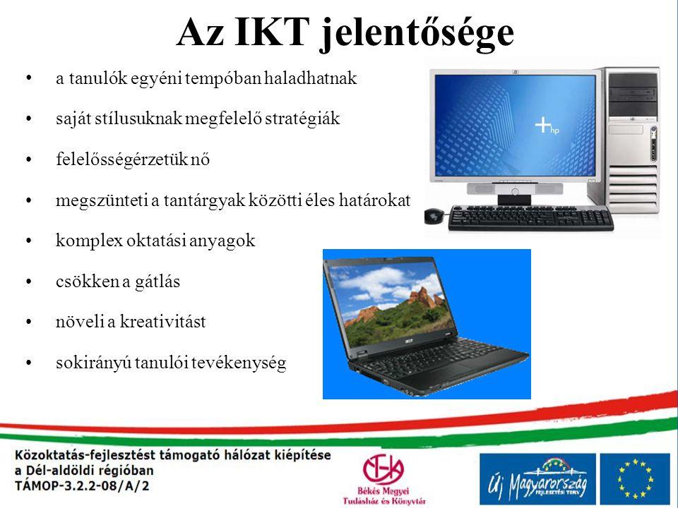 IKT elemei Digitális taneszközök használata a tanórákon Multimédiás szoftverek alkalmazása a tanórákon Számítógéppel támogatott tanítás – tanulás A SDT adatbázisának felhasználása az oktatásban Elektronikus média útján történő kommunikáció és tudatos Internethasználat E - learning