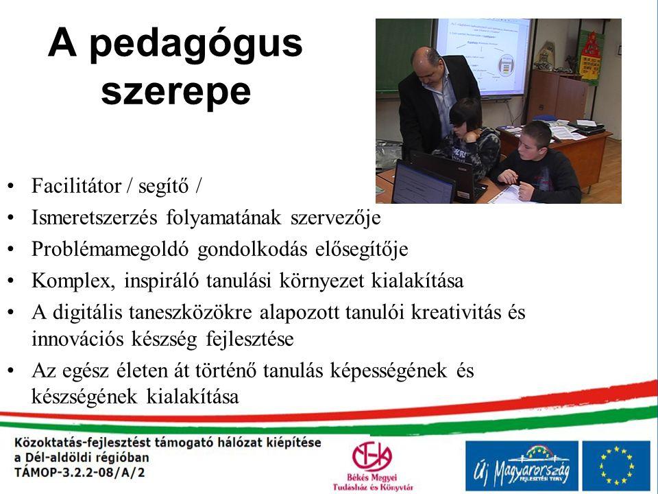 A pedagógus szerepe Facilitátor / segítő / Ismeretszerzés folyamatának szervezője Problémamegoldó gondolkodás elősegítője Komplex, inspiráló tanulási