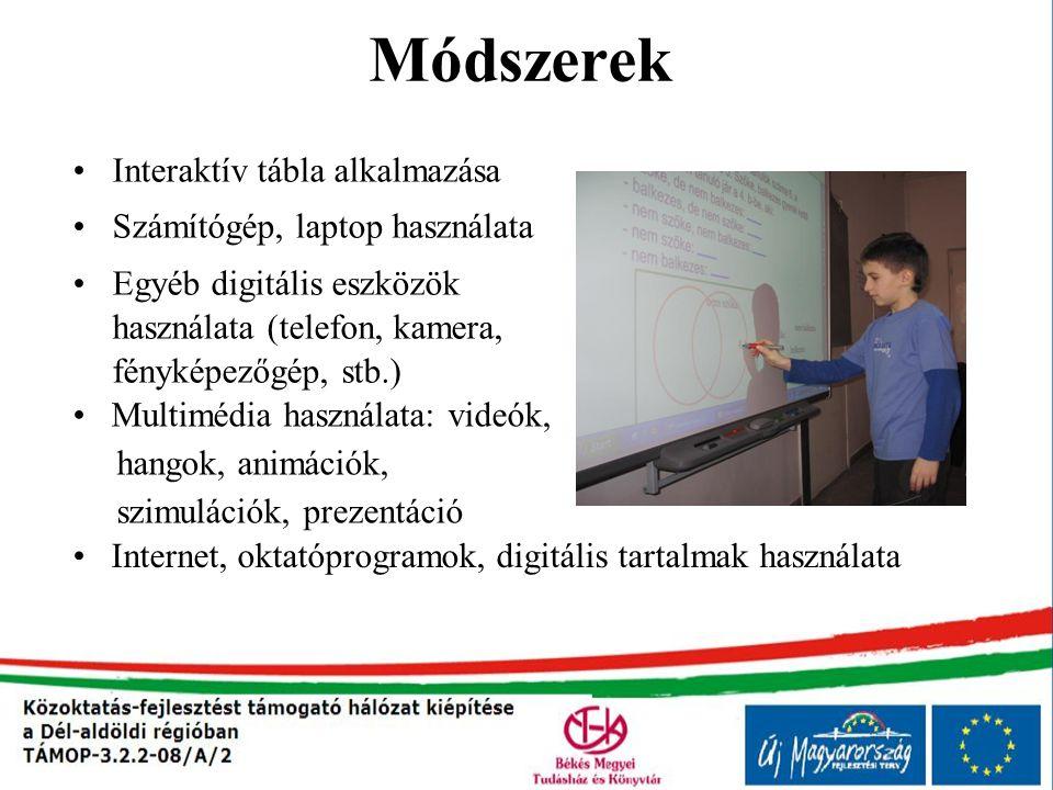 Módszerek Interaktív tábla alkalmazása Számítógép, laptop használata Egyéb digitális eszközök használata (telefon, kamera, fényképezőgép, stb.) Multim