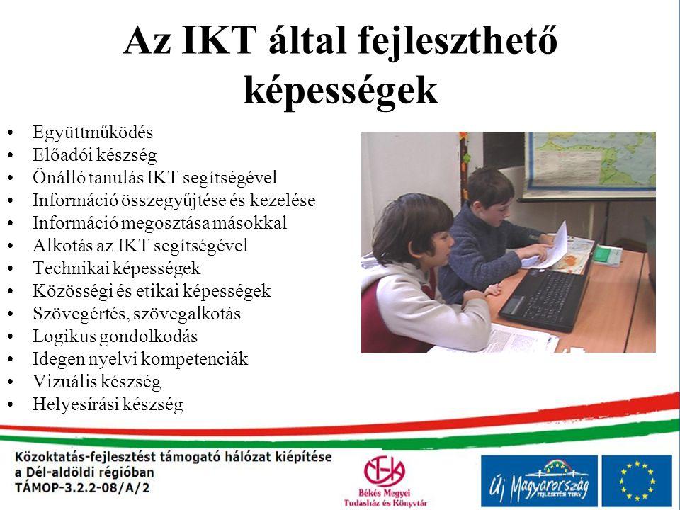 Az IKT által fejleszthető képességek Együttműködés Előadói készség Önálló tanulás IKT segítségével Információ összegyűjtése és kezelése Információ meg