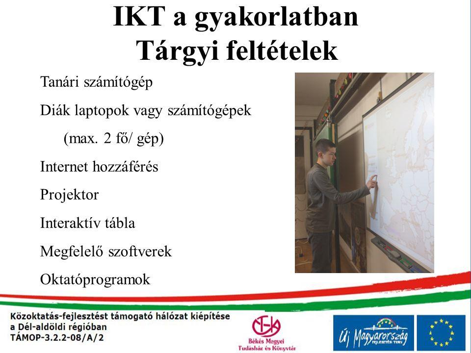IKT a gyakorlatban Tárgyi feltételek Tanári számítógép Diák laptopok vagy számítógépek (max. 2 fő/ gép) Internet hozzáférés Projektor Interaktív tábla