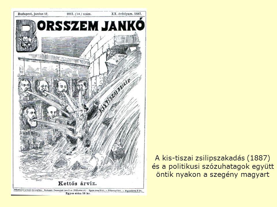 A kis-tiszai zsilipszakadás (1887) és a politikusi szózuhatagok együtt öntik nyakon a szegény magyart