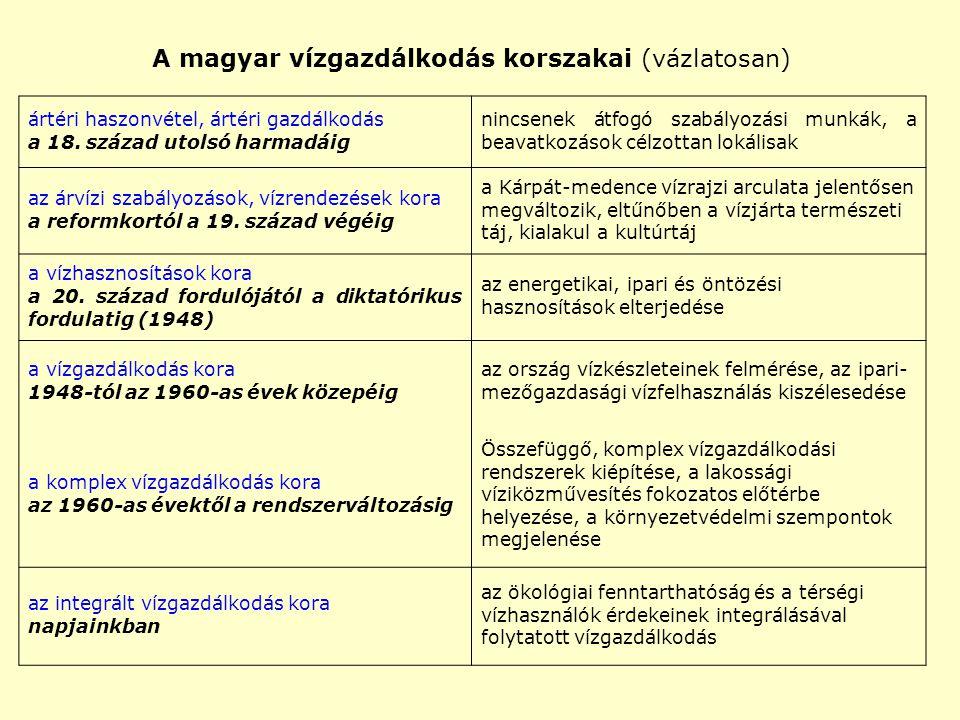 A magyar vízgazdálkodás korszakai (vázlatosan) ártéri haszonvétel, ártéri gazdálkodás a 18. század utolsó harmadáig nincsenek átfogó szabályozási munk
