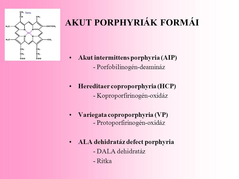 AKUT PORPHYRIÁK FORMÁI Akut intermittens porphyria (AIP) - Porfobilinogén-deamináz Hereditaer coproporphyria (HCP) - Koproporfirinogén-oxidáz Variegat