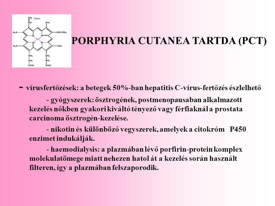 - vírusfertőzések: a betegek 50%-ban hepatitis C-vírus-fertőzés észlelhető - gyógyszerek: ösztrogének, postmenopausaban alkalmazott kezelés nőkben gya