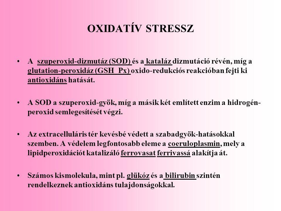 OXIDATÍV STRESSZ A szuperoxid-dizmutáz (SOD) és a kataláz dizmutáció révén, míg a glutation-peroxidáz (GSH_Px) oxido-redukciós reakcióban fejti ki ant
