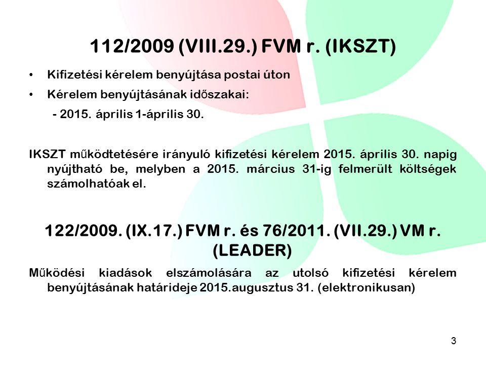 112/2009 (VIII.29.) FVM r. (IKSZT) Kifizetési kérelem benyújtása postai úton Kérelem benyújtásának id ő szakai: - 2015. április 1-április 30. IKSZT m