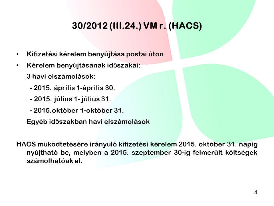 30/2012 (III.24.) VM r. (HACS) Kifizetési kérelem benyújtása postai úton Kérelem benyújtásának id ő szakai: 3 havi elszámolások: - 2015. április 1-ápr