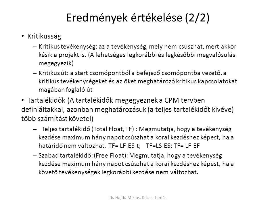 Eredmények értékelése (2/2) Kritikusság – Kritikus tevékenység: az a tevékenység, mely nem csúszhat, mert akkor késik a projekt is.