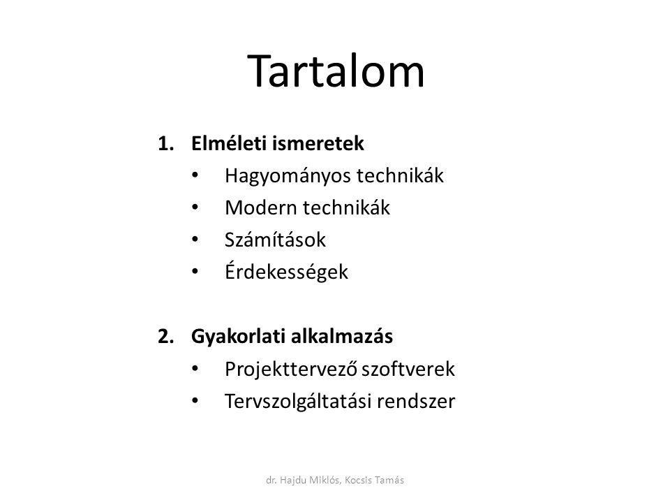 dr. Hajdu Miklós, Kocsis Tamás Tartalom 1.Elméleti ismeretek Hagyományos technikák Modern technikák Számítások Érdekességek 2.Gyakorlati alkalmazás Pr