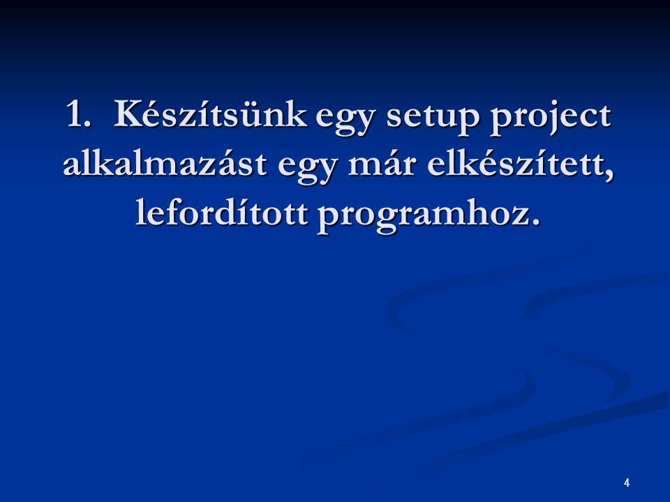 1. Készítsünk egy setup project alkalmazást egy már elkészített, lefordított programhoz. 4
