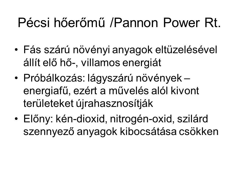 Pécsi hőerőmű /Pannon Power Rt. Fás szárú növényi anyagok eltüzelésével állít elő hő-, villamos energiát Próbálkozás: lágyszárú növények – energiafű,