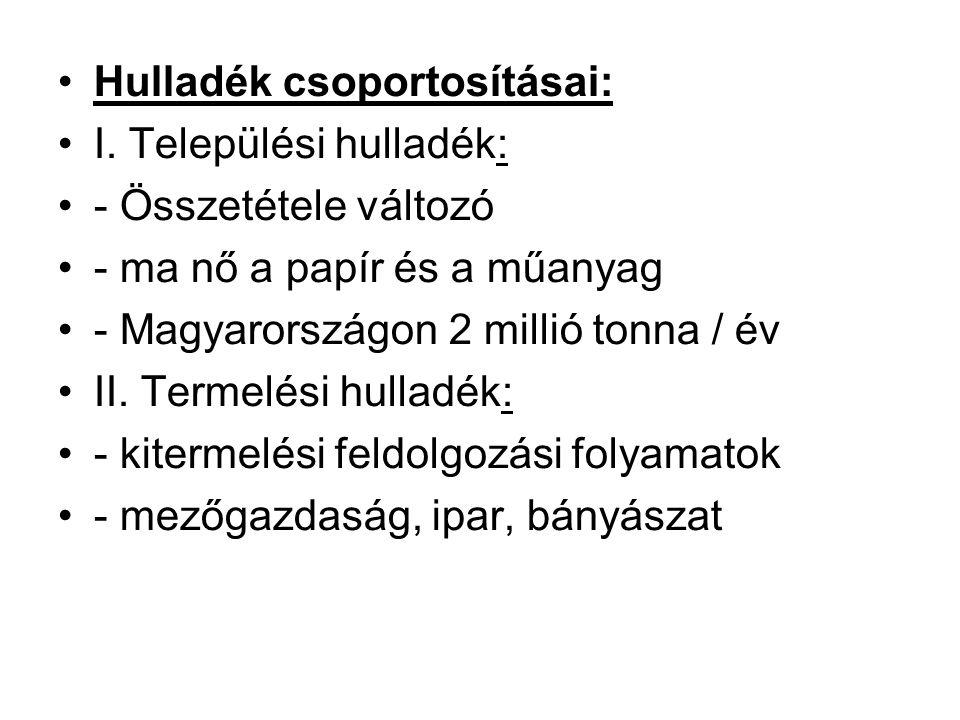 Hulladék csoportosításai: I. Települési hulladék: - Összetétele változó - ma nő a papír és a műanyag - Magyarországon 2 millió tonna / év II. Termelés