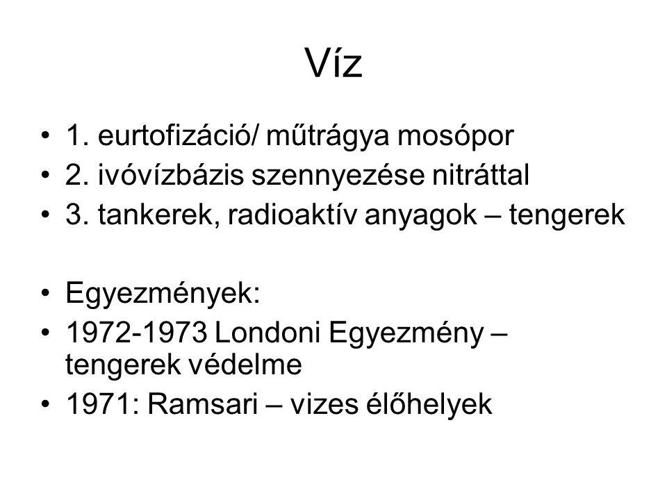 Víz 1. eurtofizáció/ műtrágya mosópor 2. ivóvízbázis szennyezése nitráttal 3. tankerek, radioaktív anyagok – tengerek Egyezmények: 1972-1973 Londoni E