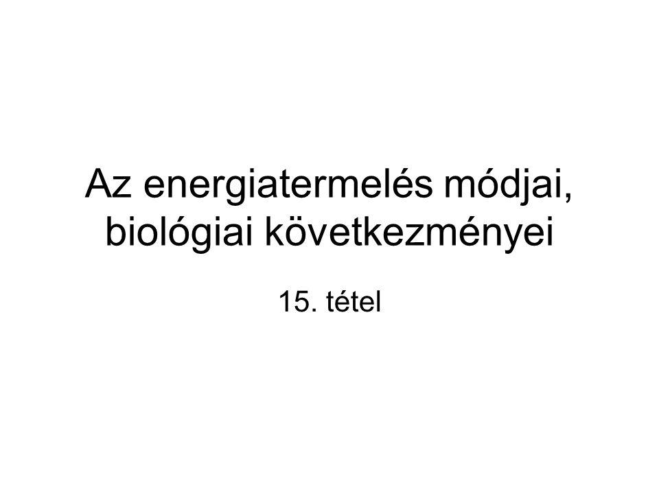 Az energiatermelés módjai, biológiai következményei 15. tétel