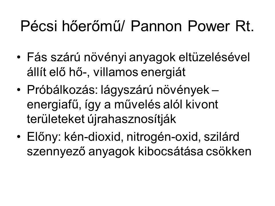 Pécsi hőerőmű/ Pannon Power Rt. Fás szárú növényi anyagok eltüzelésével állít elő hő-, villamos energiát Próbálkozás: lágyszárú növények – energiafű,