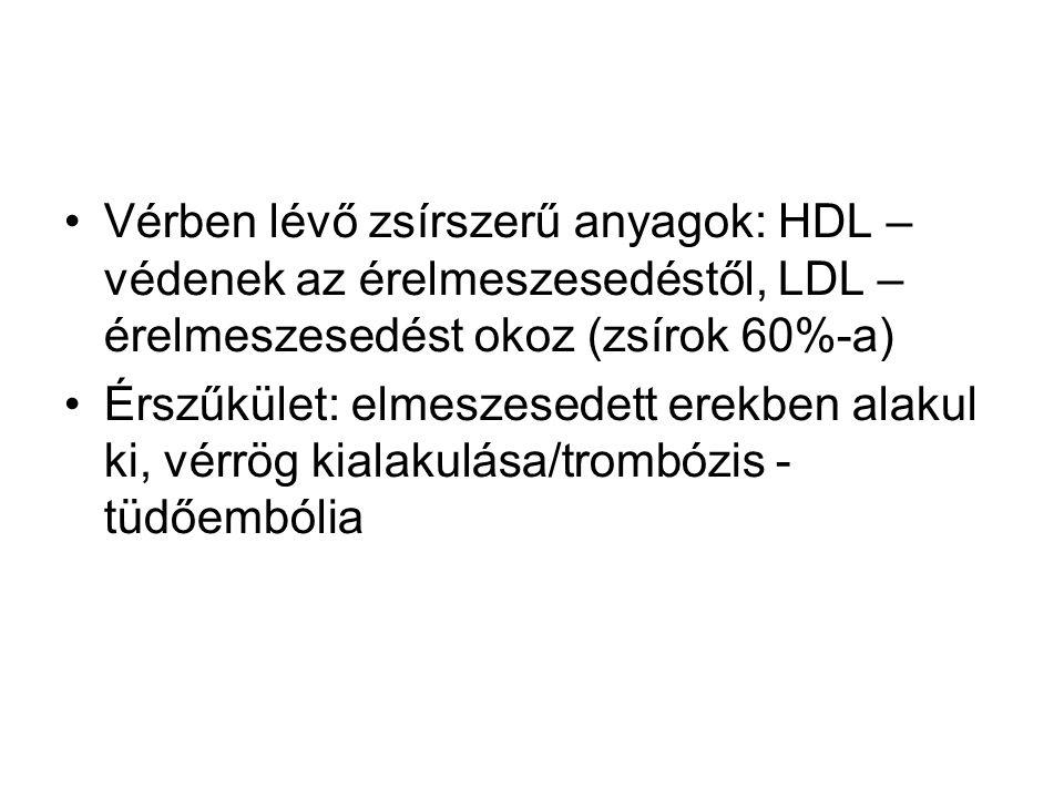 Vérben lévő zsírszerű anyagok: HDL – védenek az érelmeszesedéstől, LDL – érelmeszesedést okoz (zsírok 60%-a) Érszűkület: elmeszesedett erekben alakul