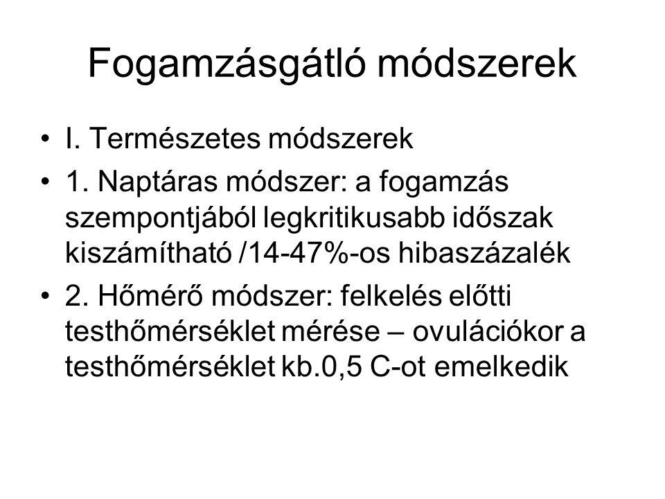 Fogamzásgátló módszerek I. Természetes módszerek 1. Naptáras módszer: a fogamzás szempontjából legkritikusabb időszak kiszámítható /14-47%-os hibaszáz