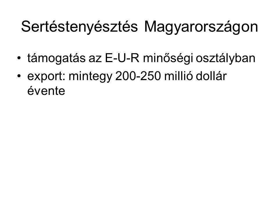 Sertéstenyésztés Magyarországon támogatás az E-U-R minőségi osztályban export: mintegy 200-250 millió dollár évente