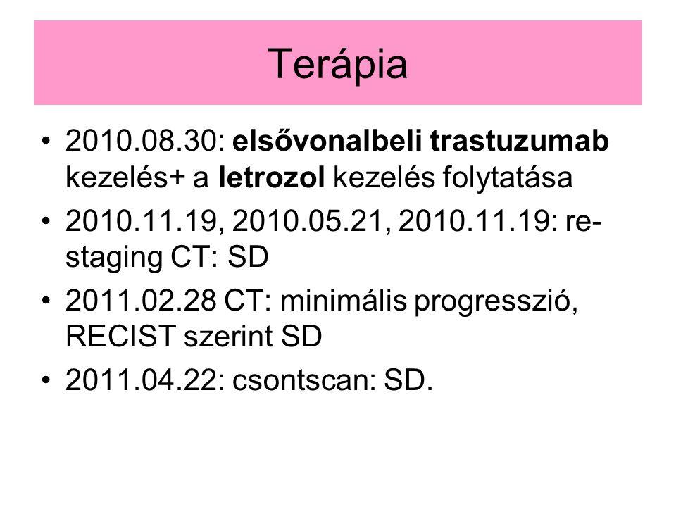 Terápia 2010.08.30: elsővonalbeli trastuzumab kezelés+ a letrozol kezelés folytatása 2010.11.19, 2010.05.21, 2010.11.19: re- staging CT: SD 2011.02.28 CT: minimális progresszió, RECIST szerint SD 2011.04.22: csontscan: SD.