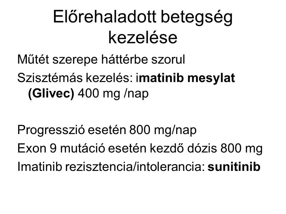 Előrehaladott betegség kezelése Műtét szerepe háttérbe szorul Szisztémás kezelés: imatinib mesylat (Glivec) 400 mg /nap Progresszió esetén 800 mg/nap Exon 9 mutáció esetén kezdő dózis 800 mg Imatinib rezisztencia/intolerancia: sunitinib