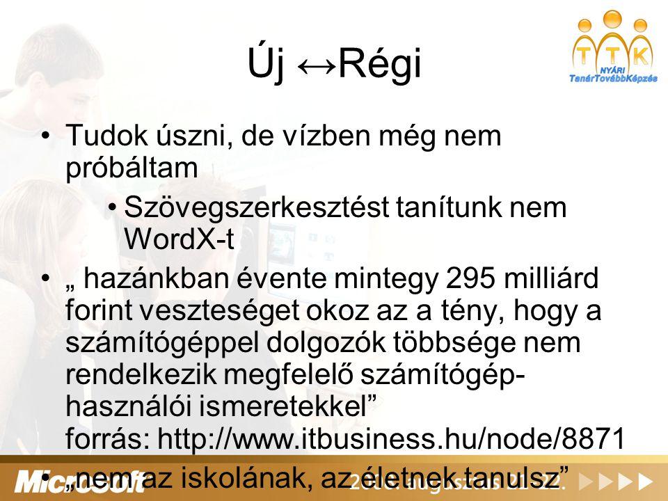 """Új ↔Régi Tudok úszni, de vízben még nem próbáltam Szövegszerkesztést tanítunk nem WordX-t """" hazánkban évente mintegy 295 milliárd forint veszteséget okoz az a tény, hogy a számítógéppel dolgozók többsége nem rendelkezik megfelelő számítógép- használói ismeretekkel forrás: http://www.itbusiness.hu/node/8871 """"nem az iskolának, az életnek tanulsz"""
