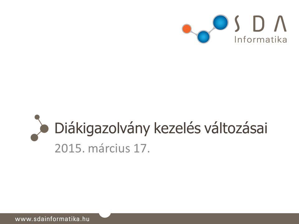 Diákigazolvány kezelés változásai 2015. március 17.