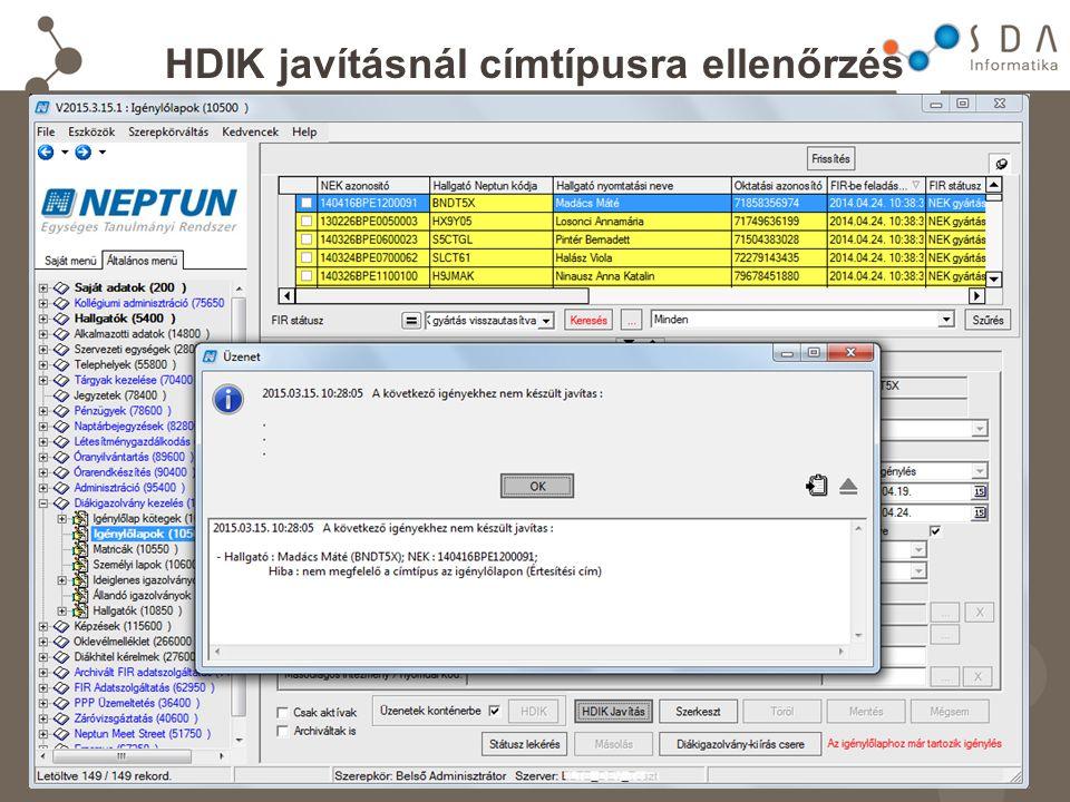 HDIK javításnál címtípusra ellenőrzés