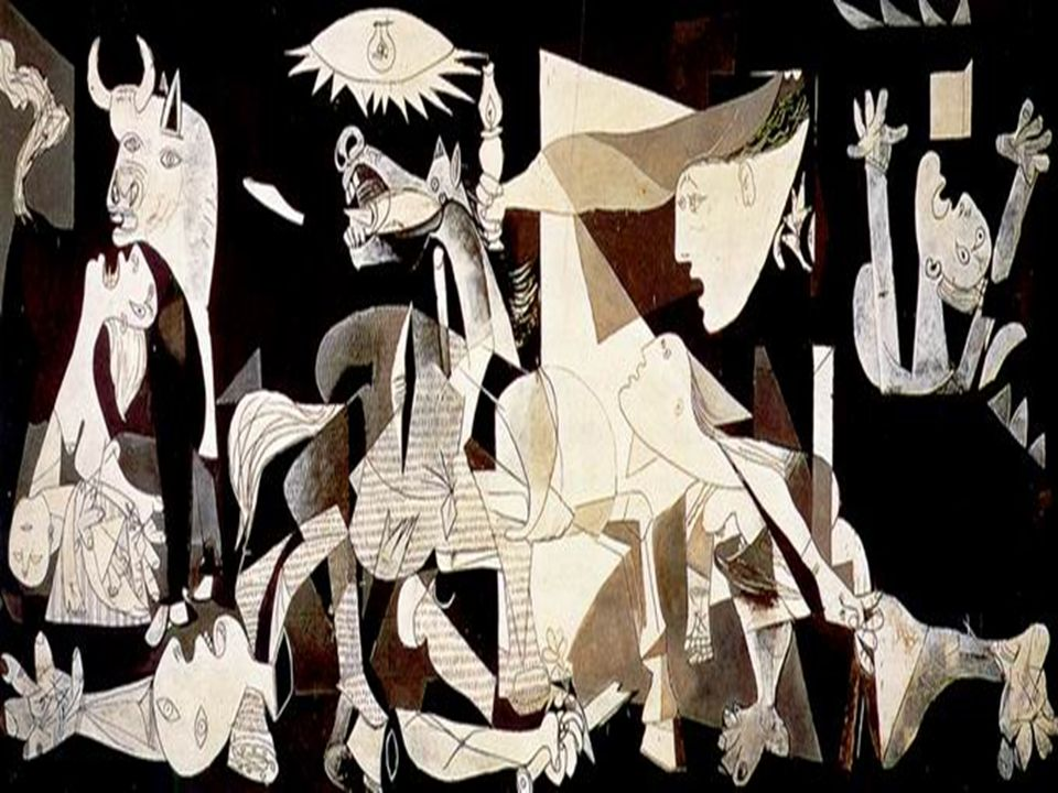 GGuernica: 1937, olaj, vászon. AA mű három művészeti irányzat jellegzetességeit is magán viseli. A figuratív elemek gazdag szimbolikája miatt a sz