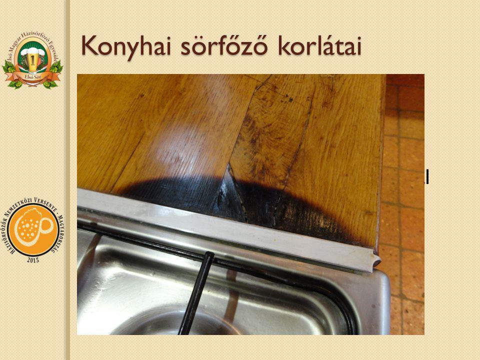 Konyhai sörfőző korlátai Nem feltétlenül nézik jó szemmel Meghaladja egy átlagos konyha felszereltségi szintjét Szokványos konyhai mozdulatsoroknál technikásabb Erőnlét Balesetveszély