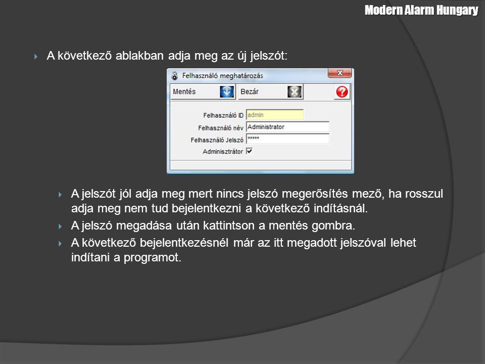 Terület beállítás: Terület felvételéhez kattintson a Hozzáadás gombra Modern Alarm Hungary Adatbázis feltöltés alap adatokkal – Terület beállítás