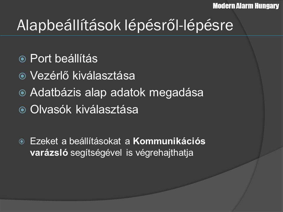 Az olvasó megadásához a következő adatokat kell megadni: Hurok szám Vezérlő cím Terület Ajtó szint Ajtó neve APB mód Olvasó 1 és 2 olvasási mód és név Működési mód Időséma (ábra a következő dián) Modern Alarm Hungary Ajtó/olvasó beállítás