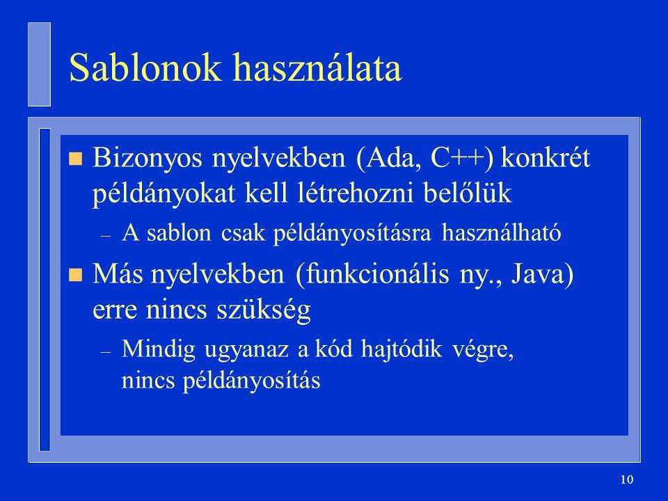 10 Sablonok használata n Bizonyos nyelvekben (Ada, C++) konkrét példányokat kell létrehozni belőlük – A sablon csak példányosításra használható n Más