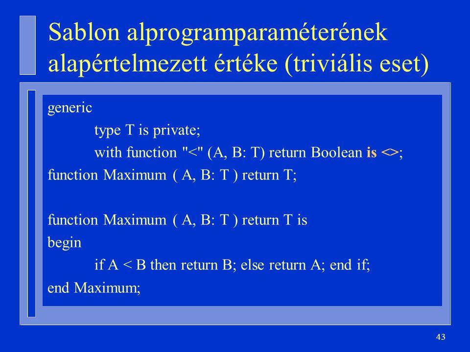 43 Sablon alprogramparaméterének alapértelmezett értéke (triviális eset) generic type T is private; with function