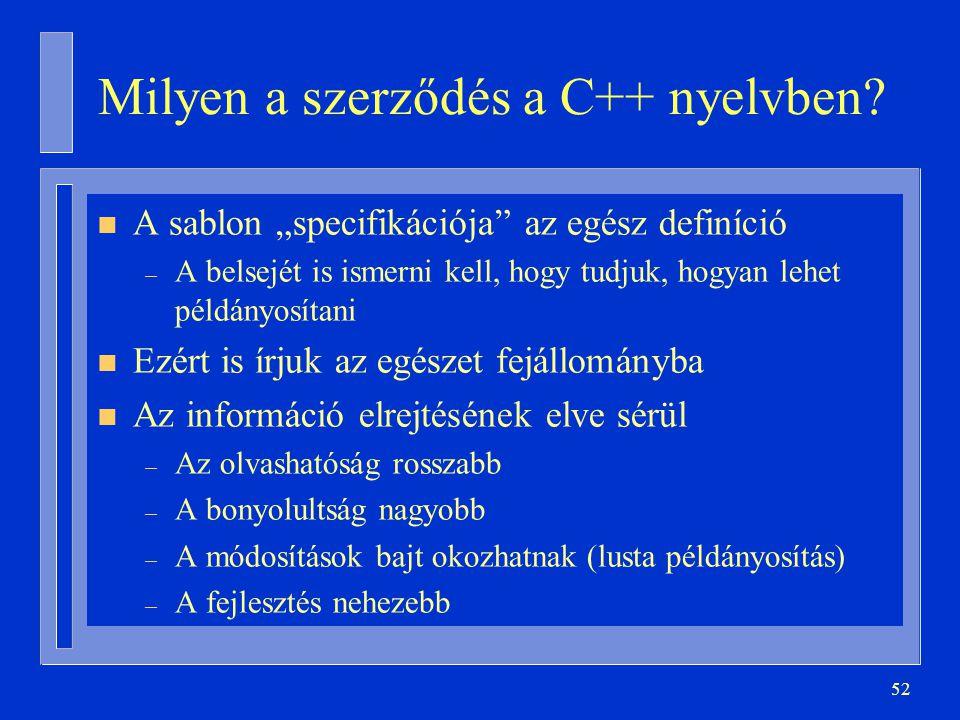 """52 Milyen a szerződés a C++ nyelvben? n A sablon """"specifikációja"""" az egész definíció – A belsejét is ismerni kell, hogy tudjuk, hogyan lehet példányos"""
