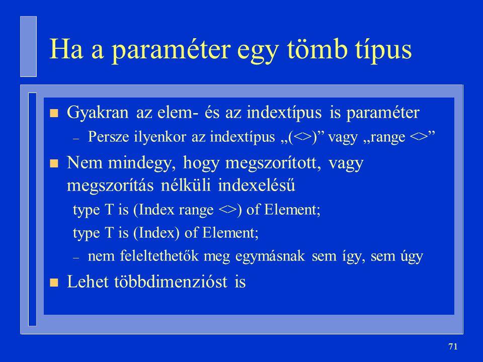 """71 Ha a paraméter egy tömb típus n Gyakran az elem- és az indextípus is paraméter – Persze ilyenkor az indextípus """"(<>)"""" vagy """"range <>"""" n Nem mindegy"""