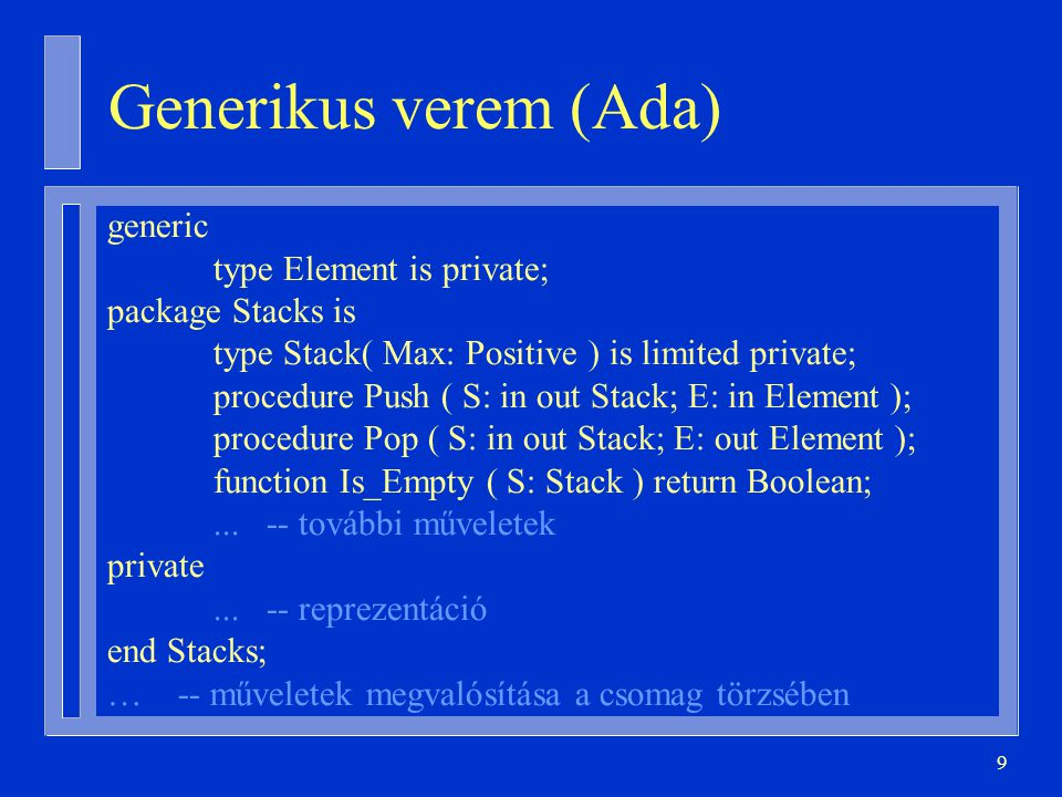 30 Sablon specifikációjának tördelése generic type Element is private; package Stacks is type Stack ( Max: Positive ) is limited private; … end Stacks; generic type T is private; procedure Swap( A, B: in out T );