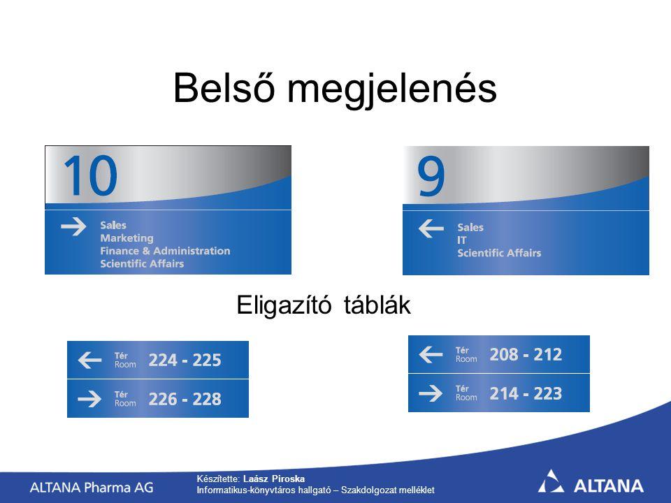 Készítette: Laász Piroska Informatikus-könyvtáros hallgató – Szakdolgozat melléklet Belső megjelenés Eligazító táblák