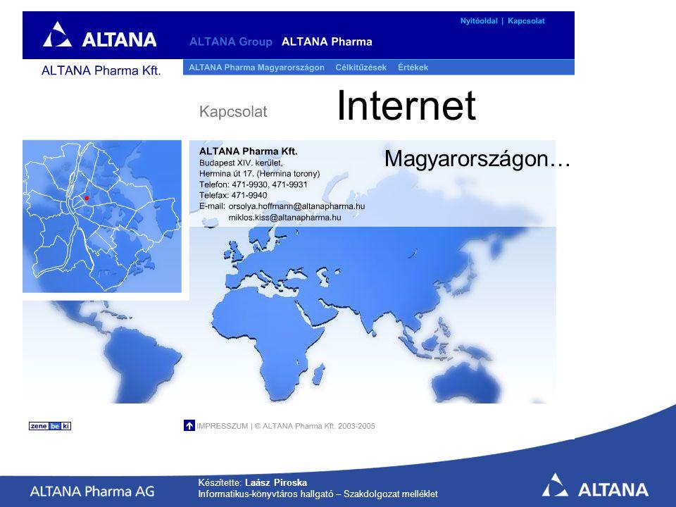 Készítette: Laász Piroska Informatikus-könyvtáros hallgató – Szakdolgozat melléklet Internet Magyarországon…