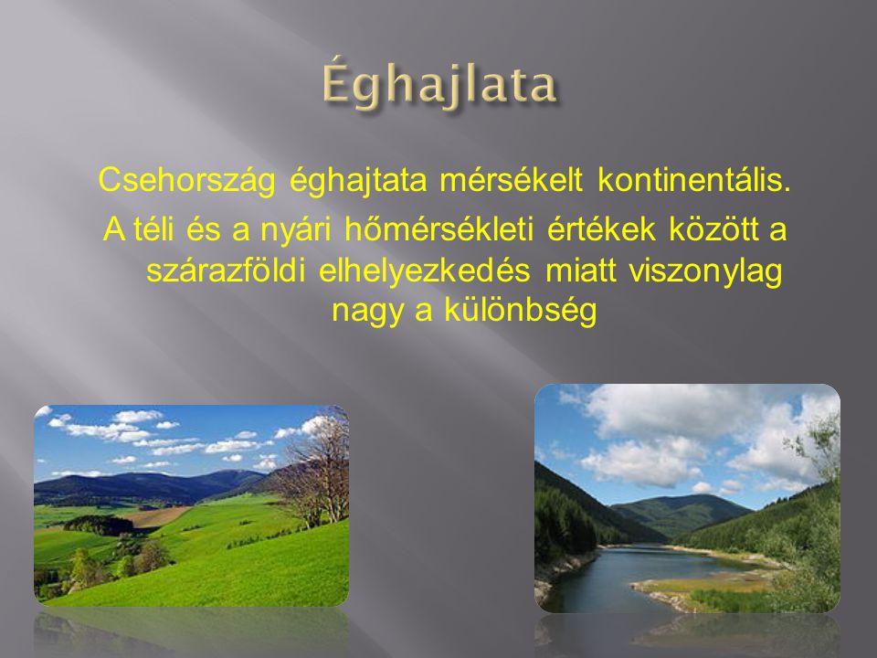 Csehország éghajtata mérsékelt kontinentális. A téli és a nyári hőmérsékleti értékek között a szárazföldi elhelyezkedés miatt viszonylag nagy a különb