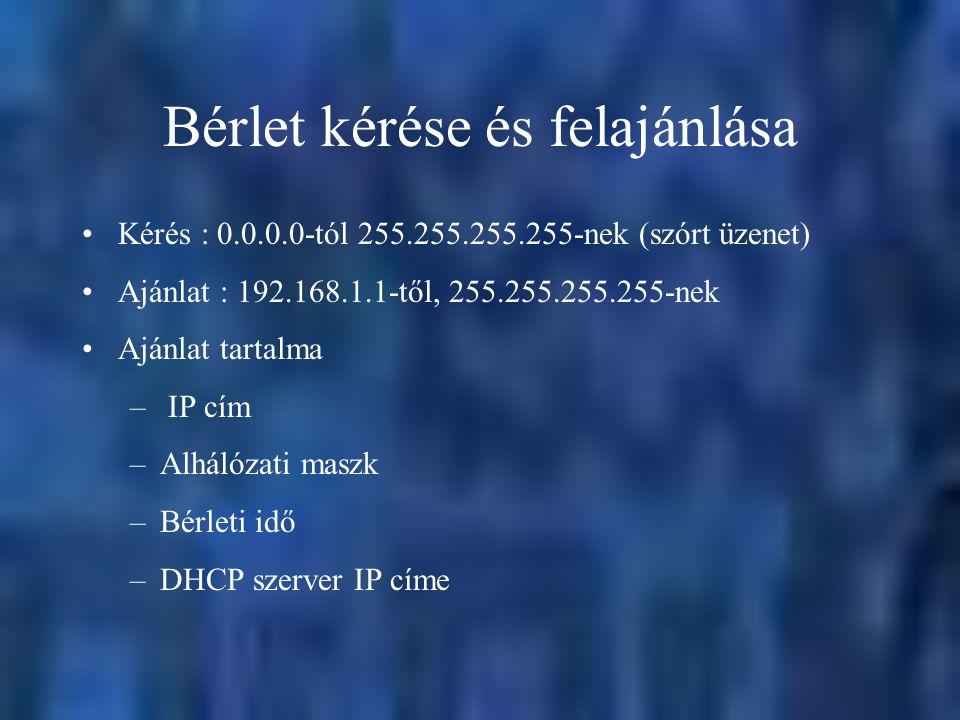 Bérlet kérése és felajánlása Kérés : 0.0.0.0-tól 255.255.255.255-nek (szórt üzenet) Ajánlat : 192.168.1.1-től, 255.255.255.255-nek Ajánlat tartalma –