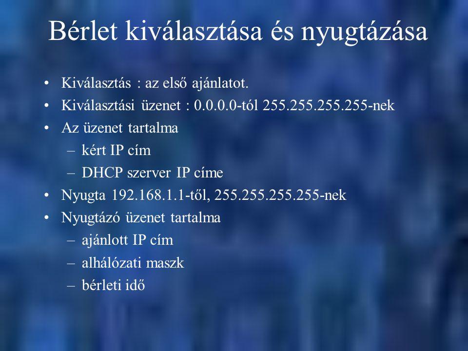 Bérlet kiválasztása és nyugtázása Kiválasztás : az első ajánlatot. Kiválasztási üzenet : 0.0.0.0-tól 255.255.255.255-nek Az üzenet tartalma –kért IP c