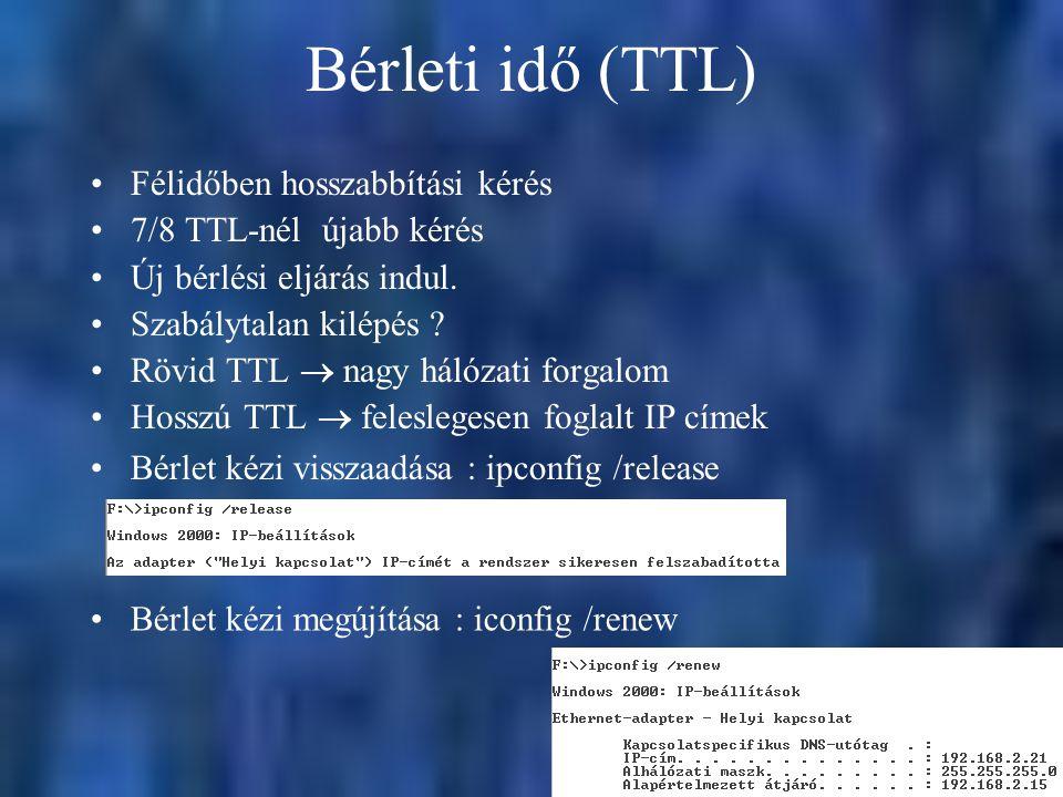 Bérleti idő (TTL) Félidőben hosszabbítási kérés 7/8 TTL-nél újabb kérés Új bérlési eljárás indul. Szabálytalan kilépés ? Rövid TTL  nagy hálózati for