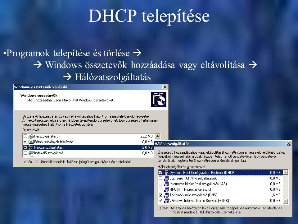 DHCP telepítése Programok telepítése és törlése   Windows összetevők hozzáadása vagy eltávolítása   Hálózatszolgáltatás
