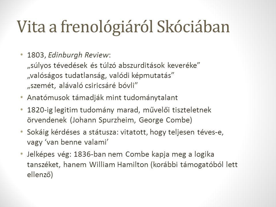 """Vita a frenológiáról Skóciában 1803, Edinburgh Review: """"súlyos tévedések és túlzó abszurditások keveréke"""" """"valóságos tudatlanság, valódi képmutatás"""" """""""