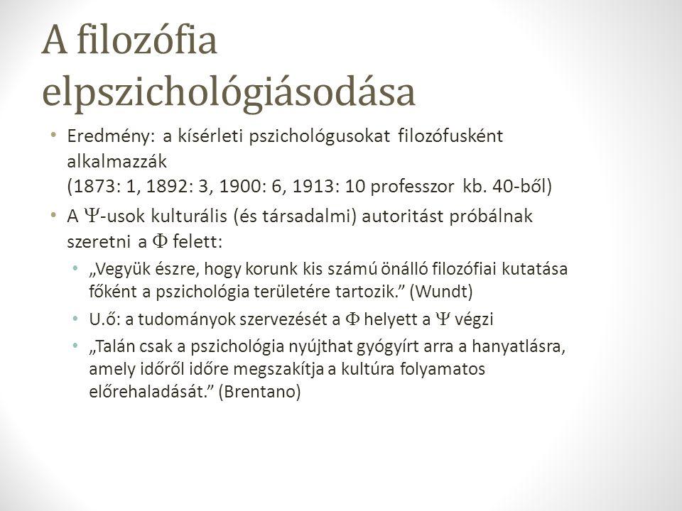 A filozófia elpszichológiásodása Eredmény: a kísérleti pszichológusokat filozófusként alkalmazzák (1873: 1, 1892: 3, 1900: 6, 1913: 10 professzor kb.