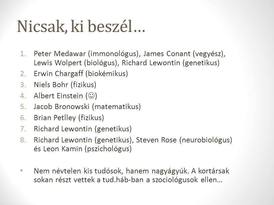 Nicsak, ki beszél… 1.Peter Medawar (immonológus), James Conant (vegyész), Lewis Wolpert (biológus), Richard Lewontin (genetikus) 2.Erwin Chargaff (bio