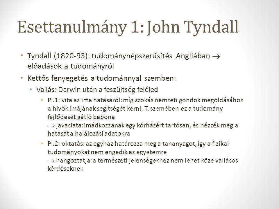 Esettanulmány 1: John Tyndall Tyndall (1820-93): tudománynépszerűsítés Angliában  előadások a tudományról Kettős fenyegetés a tudománnyal szemben: Va