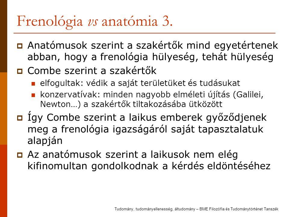 Frenológia vs anatómia 3.  Anatómusok szerint a szakértők mind egyetértenek abban, hogy a frenológia hülyeség, tehát hülyeség  Combe szerint a szaké